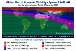 Visibiltas Hilal pada 30 Ramadhan 1429 H