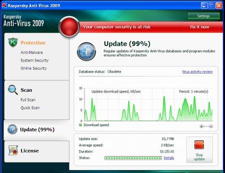 update Kaspersky Anti-Virus 2009