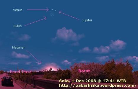 Konjungsi Bulan-Venus-Jupiter