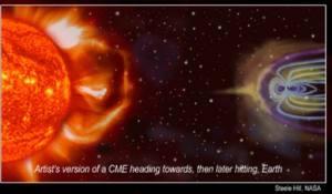 Poster Badai Matahari dan efeknya terhadap Bumi