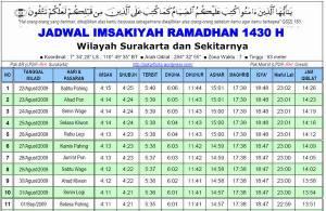 Tampilan Jadwal Imsakiyah Ramadhan 1430 H