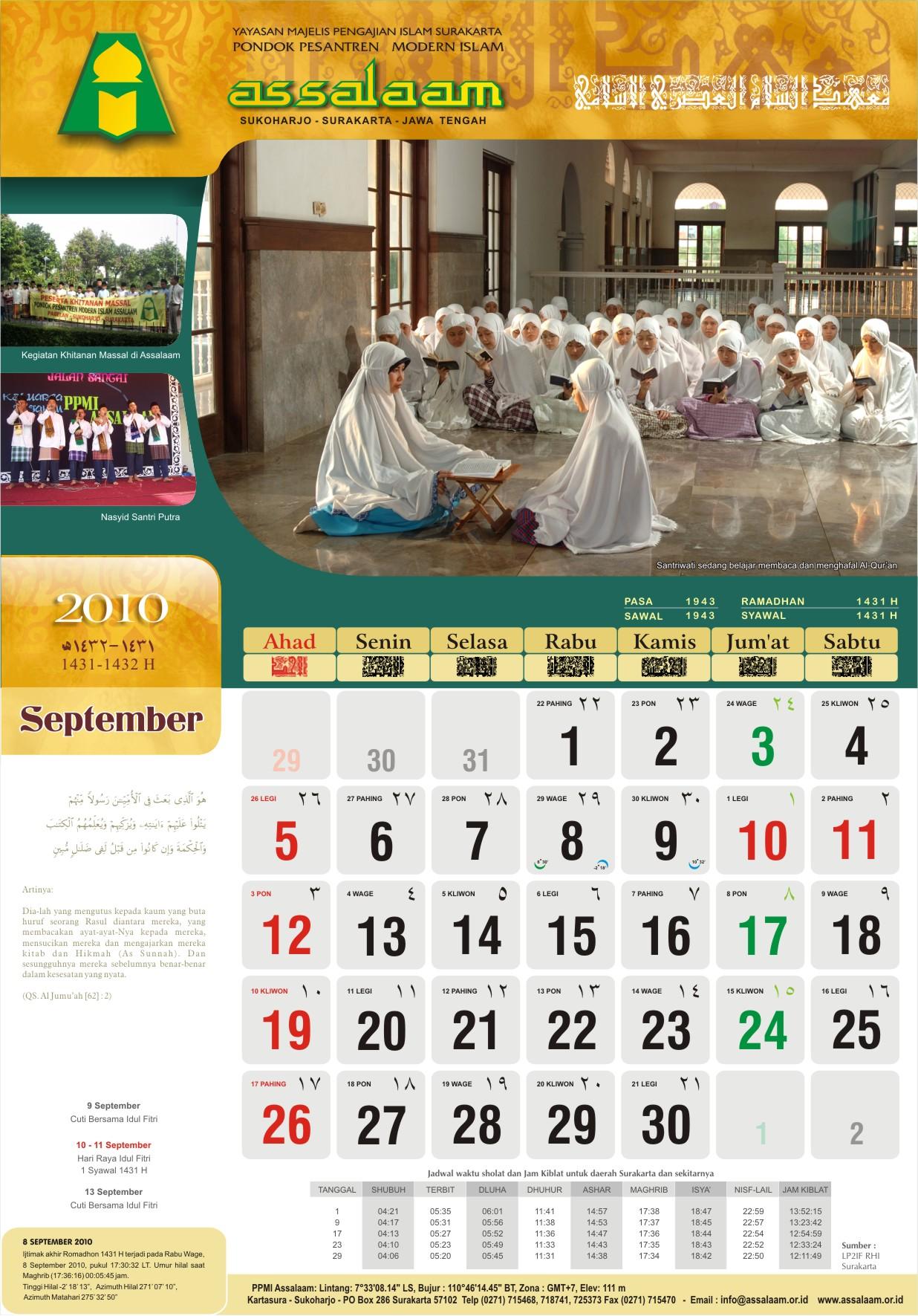 Kalender 2010 M 1431 1432 H Pak Ar Ex Guru Fisika