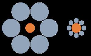 Dua lingkaran oranye yg sama besar