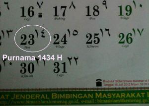 Purnama 1434 H versi Pemerintah RI