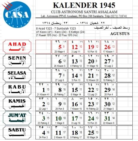 Kalender Agustus 1945 (quote: Gus Moeid)