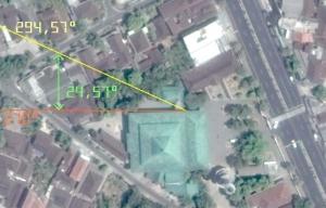 Visual Arah Kiblat vs Arah Bangunan Masjid